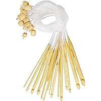 Curtzy Crochet Bois en Bambou avec Rallonge en Plastique (16 Crochets) - Tailles 2 à 12 mm - Aiguilles pour Crochet…
