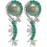 EW Jewellery House Women's White Gold Earring, 38 mm