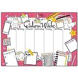 Schreibtischunterlage EINHORN WOCHE zum Abreißen aus Papier - DIN A3 Schreibunterlage mit Wochenplaner, Tages-Plan, To-Do Liste, Shopping-Liste - 25 Blatt Abreißblock für kleine und große Mädchen