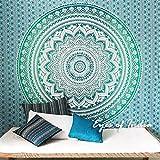 Eyes of India - Doble Azul degradado MANDALA ELEFANTE Colcha Tapiz playa bohemio boho indio - Verde, 84 X 94 in. (213 X 238 cm)
