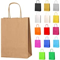 Thepaperbagstore 5 Small Paper Party Bags, Gift and Sweet Bags with Twist Handles - Brown - 180x220x80mm