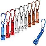 COM-FOUR® 10x LED mini-zaklamp, met karabijnhaak als sleutelhanger, ideaal voor school, sport, vrije tijd, kamperen, buitensh