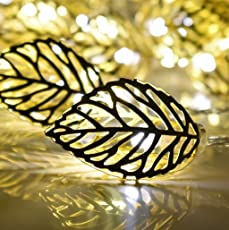 Techno E-Tail Golden Metal Leaf String 20 Led Decorative Lights(Warm White 3-Meters)