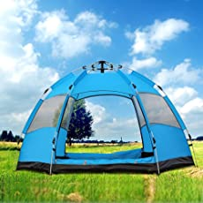 YUMAI [New Automatic Tent/Multiplayer/Double storey/2-3people/hexagonal Big Tent/Outdoor/Camping/Camping/Rain/Sun Protection/Ventilation