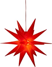 3D Leuchtstern/mit warm-weißer LED Beleuchtung/für Innen und Außen geeignet (IP44) / hängend / 7,5 m Zuleitung (Rot)
