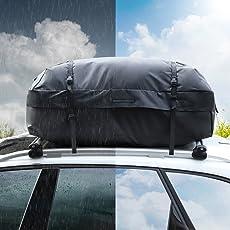 Rabbitgoo Dachbox für Auto Faltbare Dachkoffer Wasserdicht Dachtasche Dachgepäckträger-Tasche 15 Kubikfuß Aufbewahrungsbox Ideal für Reisen und Gepäcktransport Schwarz
