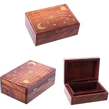 Puckator Sheesham Wood Trinket Box with Sun, Moon and Stars Inlay