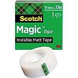 Scotch Magic Cinta Adhesiva Invisible - 1 Rollo de 19mm x 33m - Cinta Adhesiva de Uso General para Reparación, Etiquetado y S