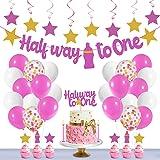 Festiko Pink Half Way to One Birthday Decorations for Girl & Boy,Half Way to One Birthday Decorations for 1/2 Birthday