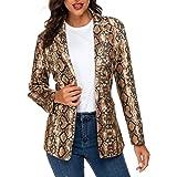 Blazer con stampa a serpente per le donne, elegante risvolto manica lunga aperto davanti ufficio vestito Slim Fit giacca capp