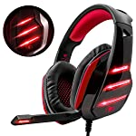 Beexcellent Gaming Headset für PS4, Surround Bass Sound Professional Kopfhörer mit Mikrofon LED Licht für Xbox One PC...
