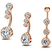 OUFER Belly Bars Clear CZ Belly Rings - Piercing per ombelico in acciaio chirurgico 316L
