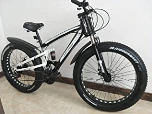 Amardeep Cycles Dual Suspension Downhill Fat Mountain Bike 21gears Black,26x4 Inches
