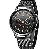Relojes Hombre,Mode Relojes de Pulsera Cronografo Diseñador Impermeable Reloj Hombre de Acero Inoxidable Analogicos Fecha
