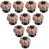 PsmGoods® Europeisk stil keramisk pumpa dörr låda knoppar vintage för byrå kök skåp drar handtag 10-pack (rosa)
