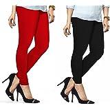 Lux Lyra Women's Pack Of 2 Churidar Leggings-Red & Black