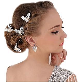 Schmetterling Haar Clips Braut Kopfschmuck Spitze Perle Handarbeit Hochzeit