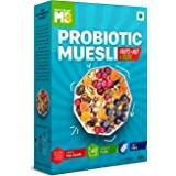 MuscleBlaze Probiotic Muesli, Breakfast Cereals For Good Gut Health, Fruits, Seeds and Nuts, Multigrain Flakes, High In Fibre