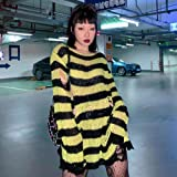 WRYIPSF Gothic Punk Women T Shirt Hole Foro Blouse A Strisce Top Grunge Grunge Pastel Gothic Fairy Harajuku Camicia Estetica
