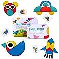 BBLIKE Tangram Madera, 36 Montessori Puzzle de Madera + 60 PCS Diseño Tarjetas de Apilamiento Juegos y Juguetes Educativos Cl