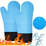 DOCOSS -Proffessional Large Silicone Oven Gloves Heat Proof ,Kitchen Oven Mittens for Baking Heat Resistant Oven Mitts Cotten