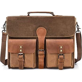 0e1edd2c96 NEWHEY Mens Laptop Messenger Bag 15.6 inch Water Resistant Leather Shoulder  Bags Work Computer Briefcase Canvas