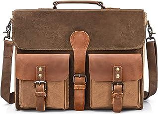 Umhängetaschen Aktentasche Herren 15.6 Zoll Wasserdicht Vintage Laptoptasche Messenger Bag Arbeitstasche Notebook Büro
