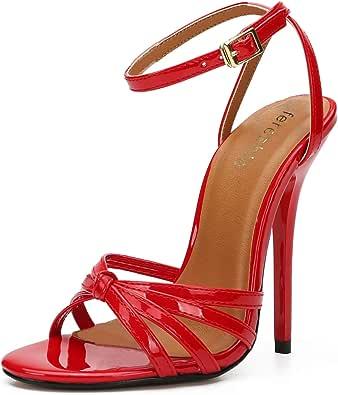 Fereshte - Sandali unisex con cinturino alla caviglia, con tacco a spillo, Rosso (Rosso), 38 EU