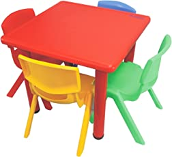 Ehomekart Playgro Multicoloured Kids Plastic Table with 4 Chairs, 60 X 60 X 53 cm, Multicolor