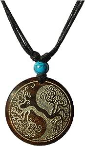 CHICNET - Collana da uomo e da donna, in legno, con ciondolo rotondo, in legno di sono, turchese, pietra incisa oro, argento, regolabile, Celtic Maori, Azteken