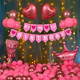 Party Propz Half Birthday Decorations For Baby Girl Combo - 51Pcs Items Set For 6 Months Birthday Decorations For Girl - 1/2