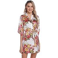 Aiboria Donna Pigiama Kimono, Camicia da Notte in Raso con Cintura,Elegante Vestaglia Scollo V Pigiama Kimono Floreale…