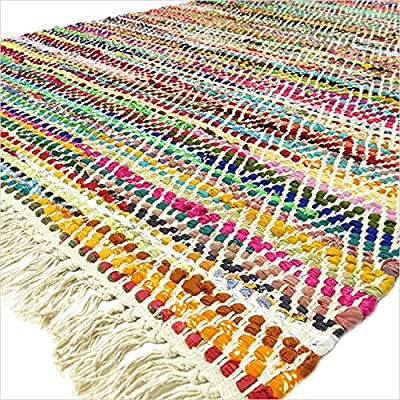 EYES OF INDIA - 3 X 5 ft MULTICOLOR COLORFUL CHINDI WOVEN RAG RUG Boho Indian Bohemian Decor
