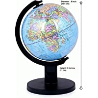 GeoKraft Educational Political 5 Inches Laminated Small Globe with Plastic Arc and Base / World Globe / Home Decor / Office Decor / Gift Item (Blue)