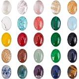 SUPERFINDINGS 50pcs Cabujones de Piedras Preciosas Naturales Y Sintéticas Cabujones de Joyería Ovalados Cabujones de Piedras