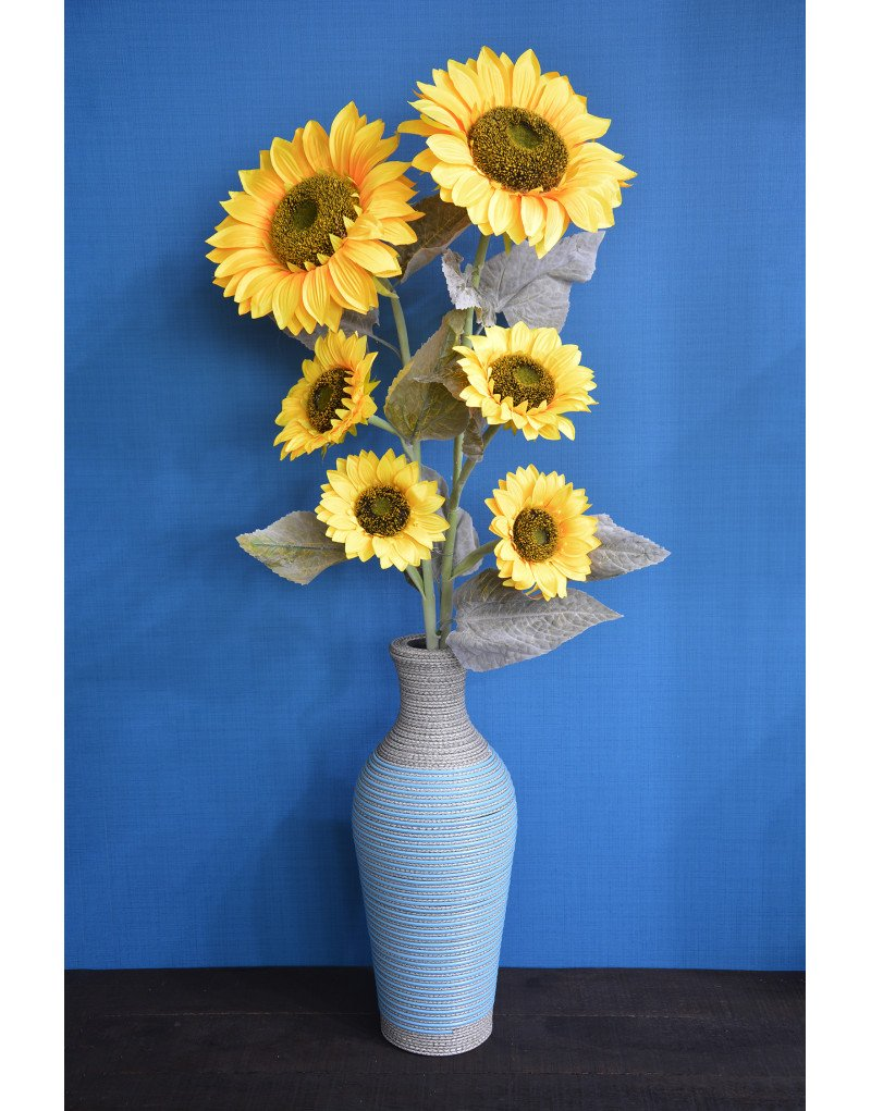 Hogar y Mas Girasol Artificial de 110 cm con Tres Flores Grandes, para Decoración Realista