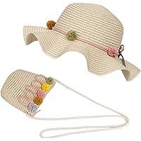 FT-SHOP Cappello da Sole per Ragazze Cappello di Paglia Cappello da Spiaggia Estivo e Mini Set di Borse con Decorativo…