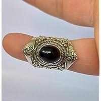 Anello in onice nero, argento sterling 925, anello fatto a mano, anello nero, gioielli in onice nero, dimensioni da 23…
