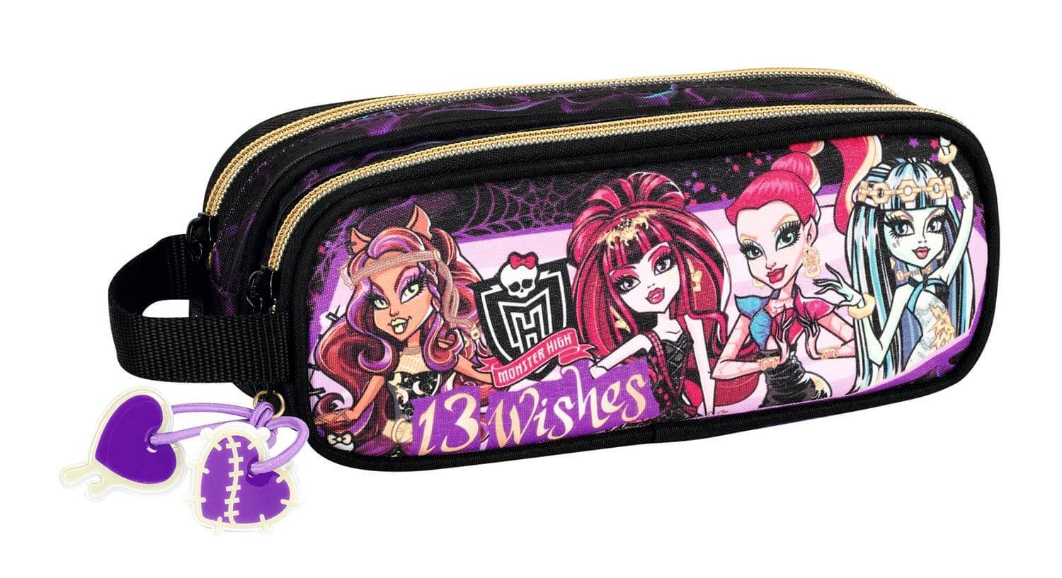 Monster High XL Bolso de Hombro y Caja de Lápices, Negro