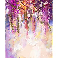 Pitaara Box Spring Purple Flowers Wisteria D2 Canvas Painting MDF Frame 12 X 14.7Inch