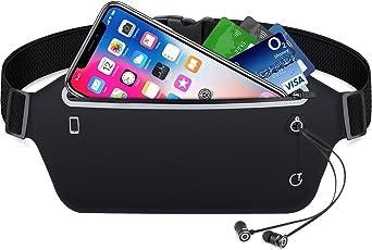 Sport Hüfttasche, Gritin Bauchtasche Gürteltasche leichte wasserdichte Laufgürtel Lauftasche mit Kopfhöreranlass für Laufen, Wandern für iPhone 7 Samsung Galaxy S8 bis zu 6 Zoll usw - Schwarz