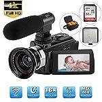 Camcorder,4K Videokamera AMZLIFE 48MP Ultra HD WiFi 3''LCD-Touchscreen LED Videoleuchte-IR Nachtsicht Digitalkamera,16X...