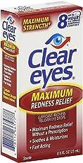 Clear Eyes Maximum Redness Relief Eye Drops, 0.5 Oz + FREE Eyebrow Trimmer