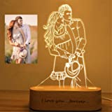 2 colori Personalizzato Foto personalizzata 3D lampada foto incisione Testo personalizzato Migliori regali Anniversario di ma