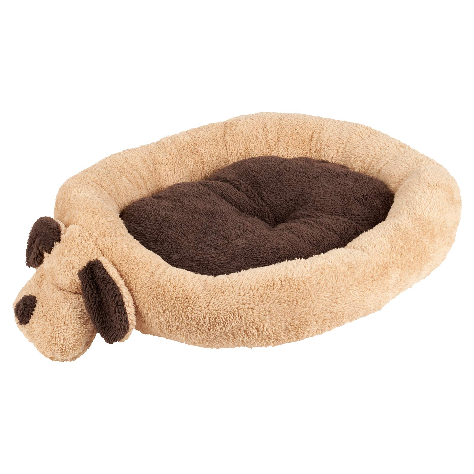 Me & My Head & Tail Soft Fleece Pet Bed – Brown/Beige