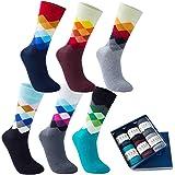 Vkele Calcetines monocolor, paquete regalo o a granel, cuadros, coloridos, lunares, rayas, calcetines de hombre de negocios,