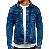 BOLF Uomo Giacca di Jeans Giacca Mezza Stagione Manica Lunga Casual Denimwear Leggero Mix 4D4