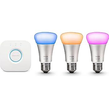 Philips Hue LED Lampe E27 Starter Set 2. Generation inkl. Bridge, dimmbar, 16 Mio Farben, frustfreie Verpackung, funktioniert mit Amazon Alexa