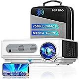 Proiettore WiFi TOPTRO con Custodia, Proiettore Bluetooth 7500 Lumen 1080P Nativo, Supporto 4K / Zoom, Proiettore Home Theate