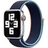 Nylon Loop Band for Apple Watch 44mm / 42mm Series 1/2/3/4 Replacement Strap Mesh Soft Sports Wristband Bracelet - Navy Orang
